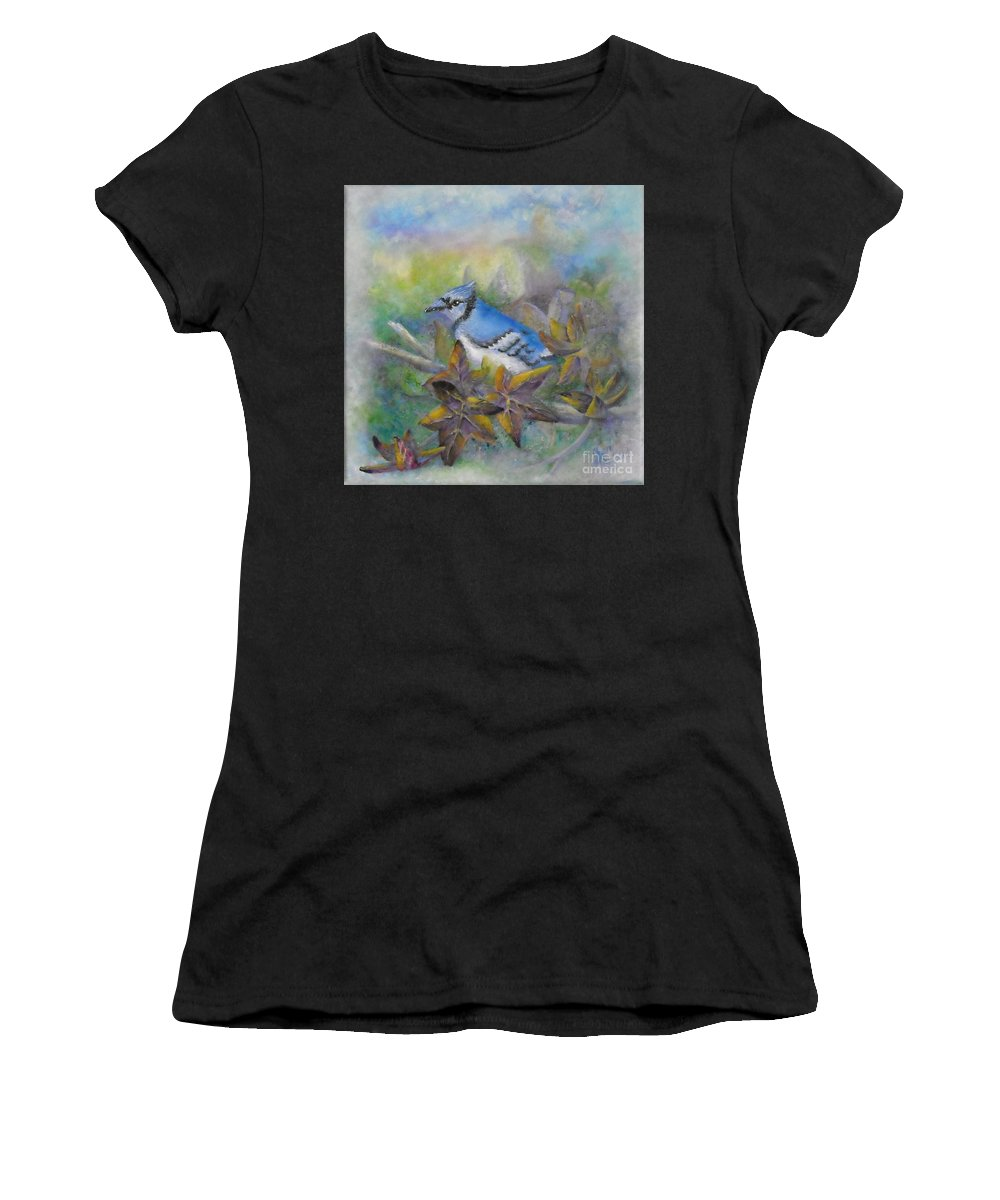Autumn Women's T-Shirt featuring the painting Autumn Sweet Gum With Blue Jay by Sheri Hubbard