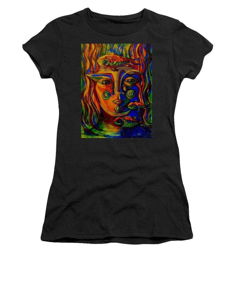 Inga Vereshchagina Women's T-Shirt (Athletic Fit) featuring the painting Autumn Tears by Inga Vereshchagina