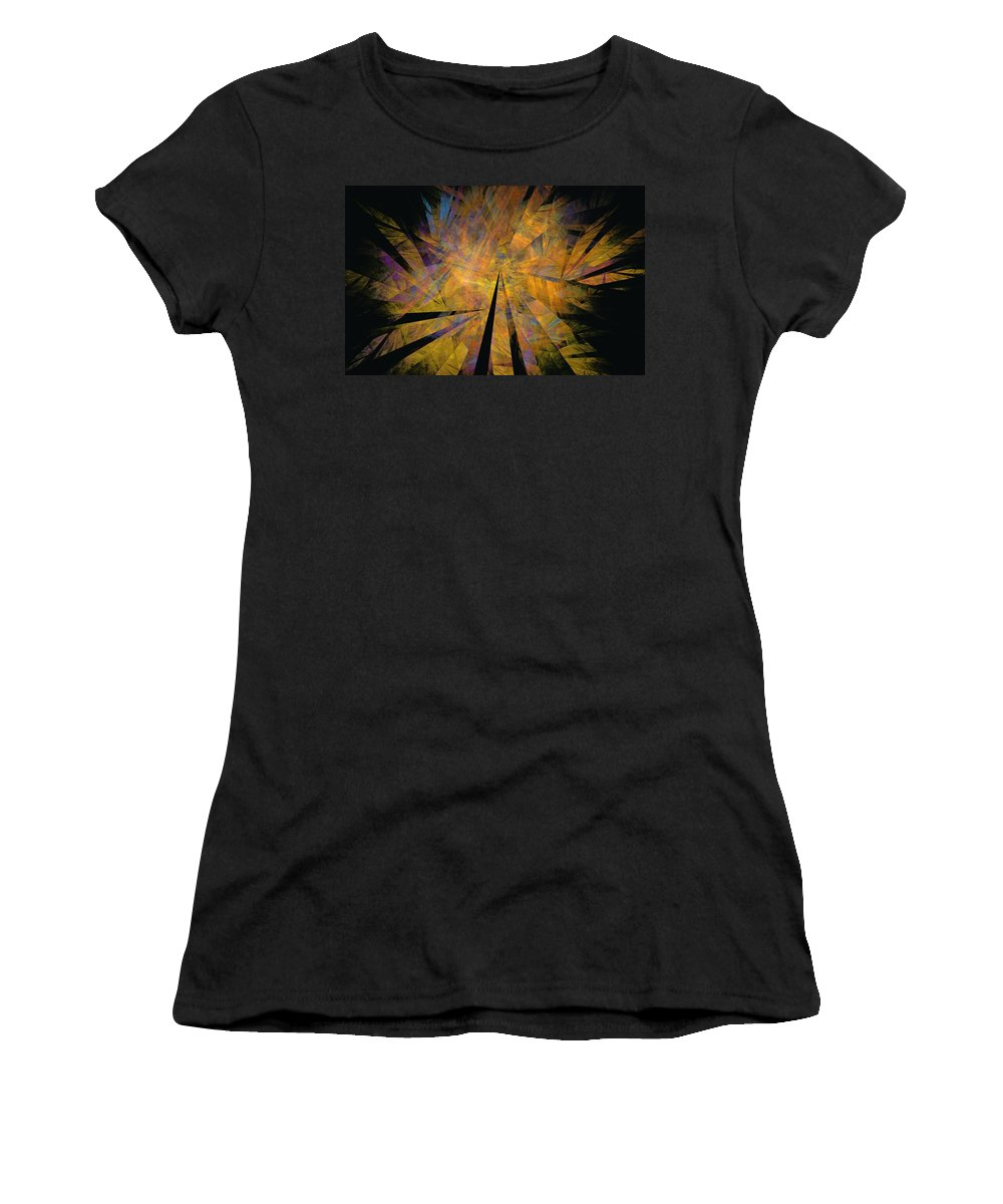 Abstract Expressionism Women's T-Shirt (Athletic Fit) featuring the digital art Autumnal by David Lane