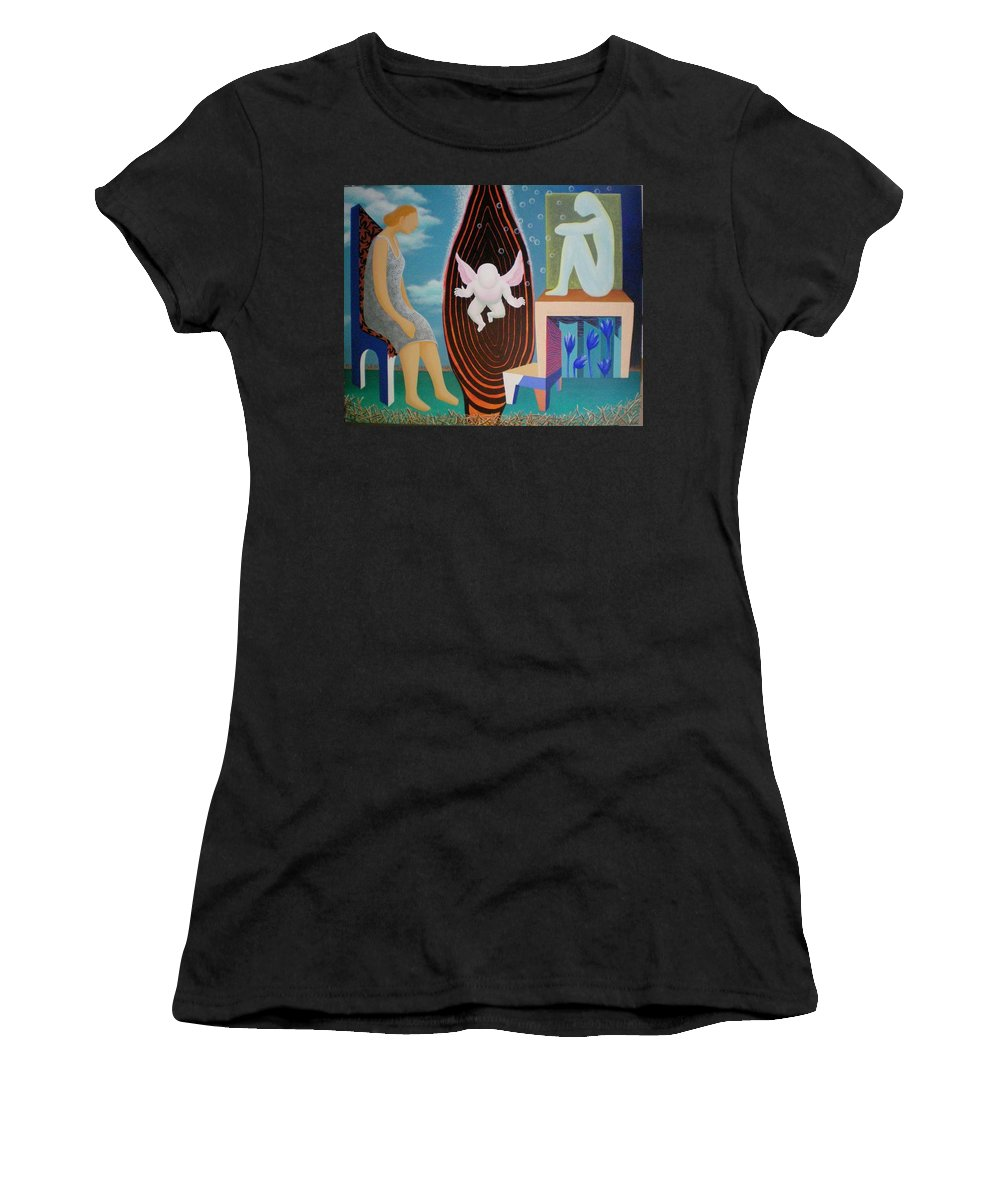 Figurative Women's T-Shirt featuring the painting Await by Raju Bose