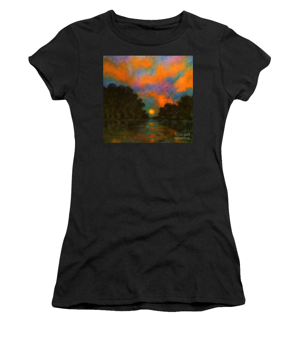 Landscape Women's T-Shirt (Athletic Fit) featuring the painting Awaken The Dream by Alison Caltrider