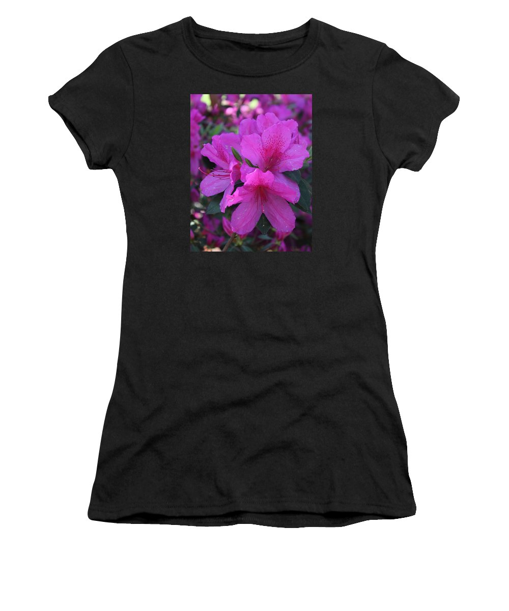 Savannah Women's T-Shirt (Athletic Fit) featuring the photograph Azaleas In Springtime by Arlene Showalter