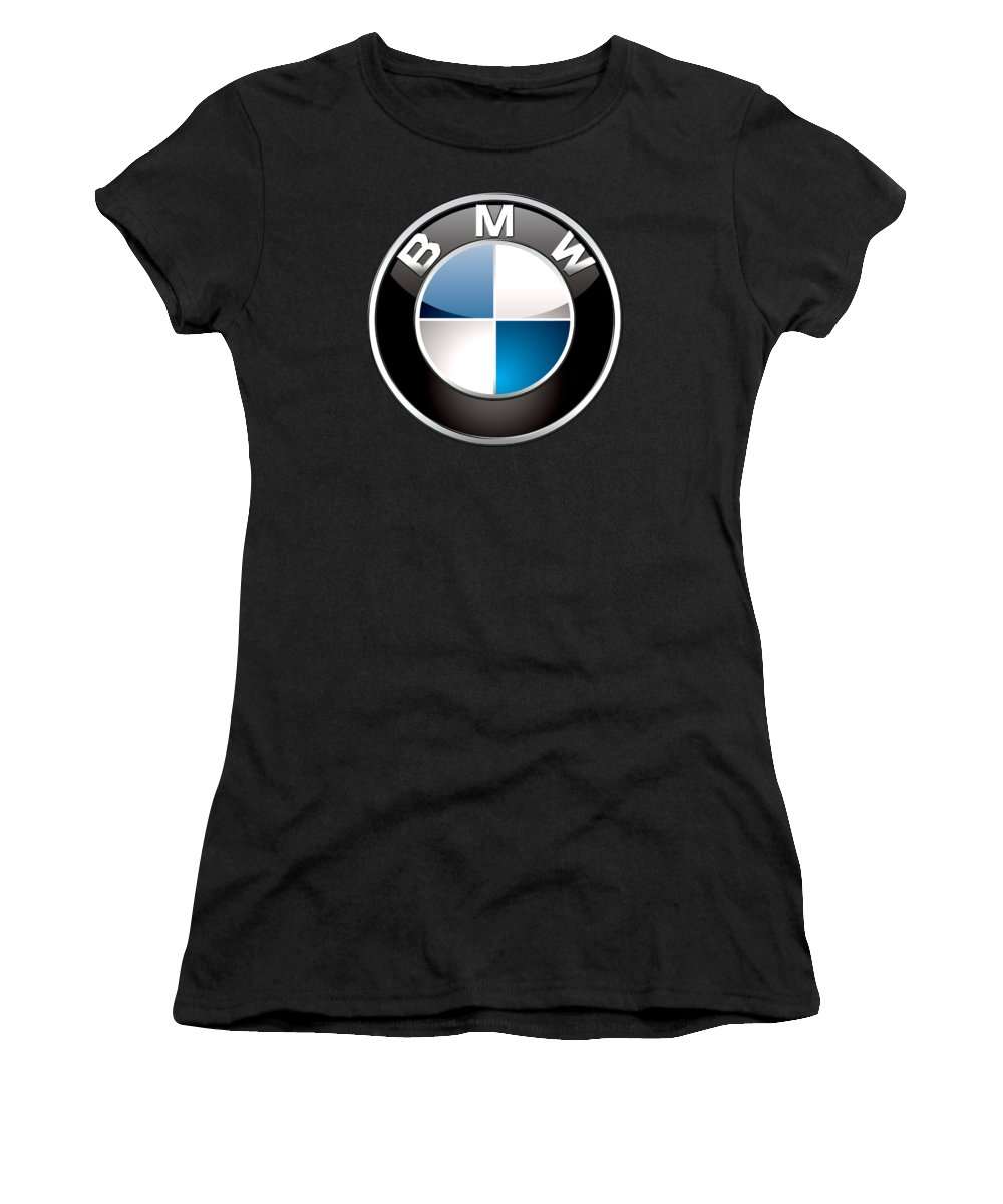 �wheels Of Fortune� Collection By Serge Averbukh Women's T-Shirt featuring the photograph B M W 3 D Badge On Black by Serge Averbukh