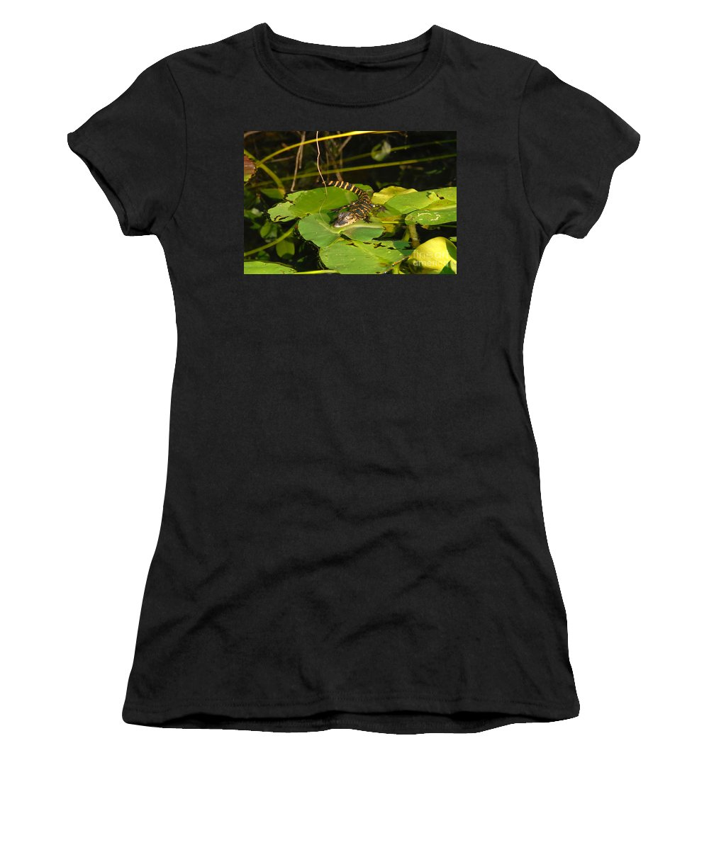 Baby Women's T-Shirt (Athletic Fit) featuring the photograph Baby Alligator by David Lee Thompson