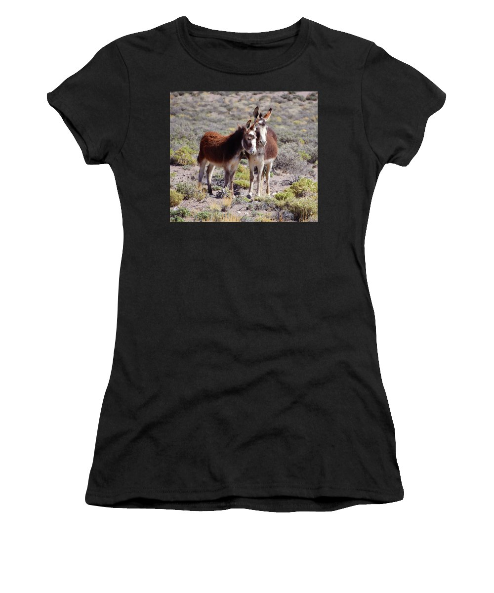 Burro Women's T-Shirt (Athletic Fit) featuring the photograph Baby And Mama Burro by Sandra O'Toole
