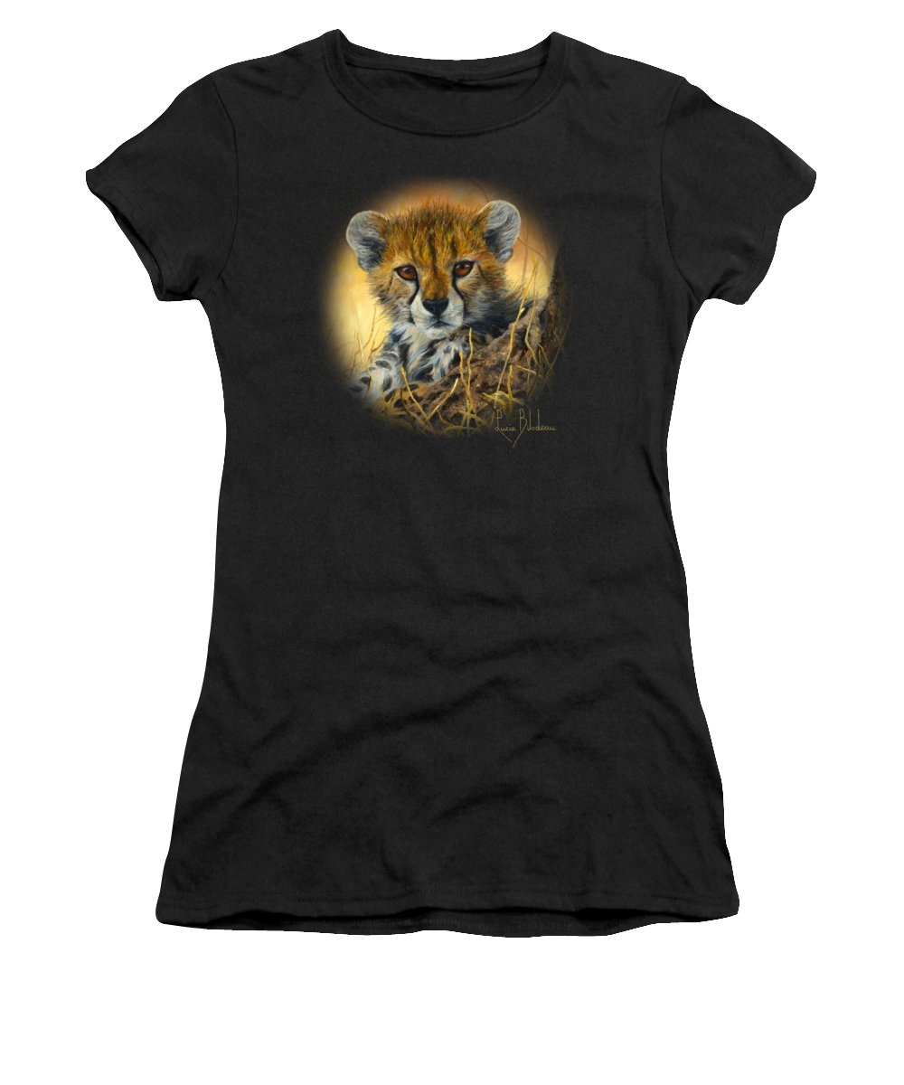 Cheetah Women's T-Shirt featuring the painting Baby Cheetah by Lucie Bilodeau