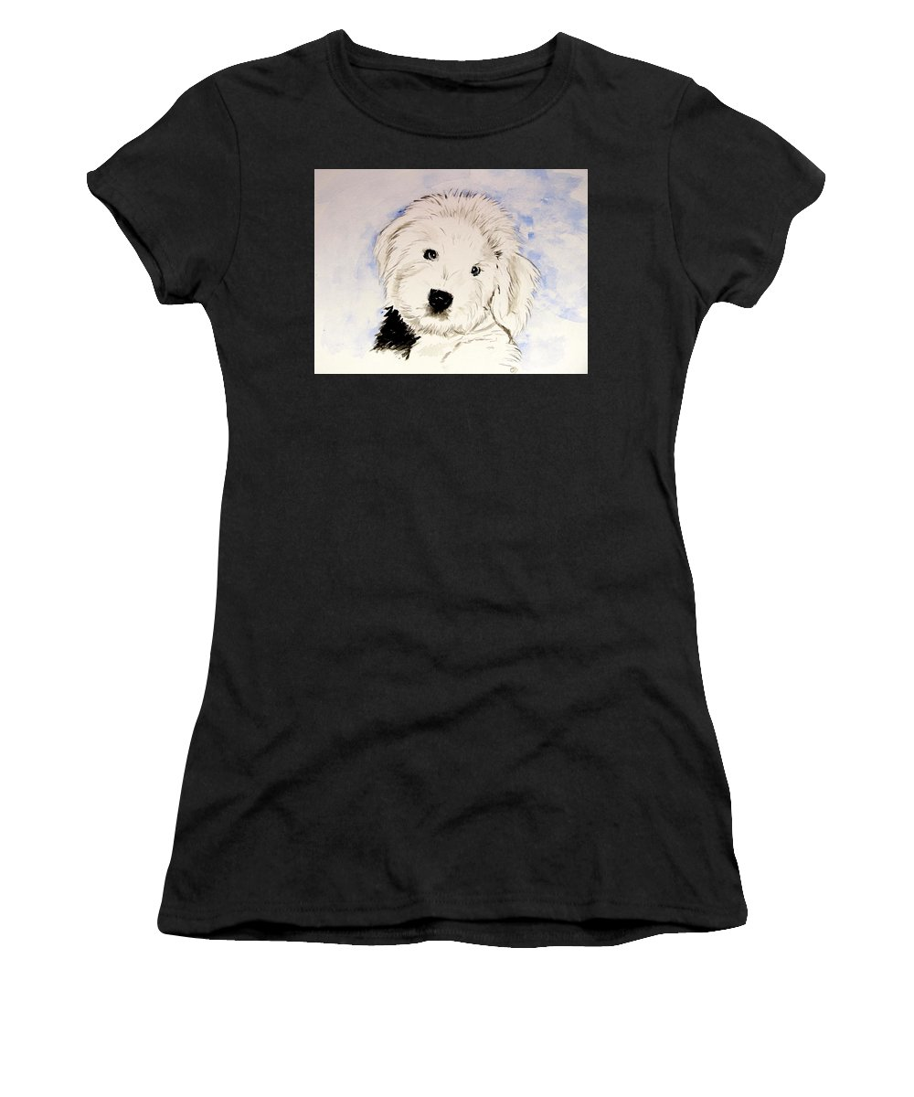 Old English Sheepdog Women's T-Shirt featuring the painting Baby Higgins by Carol Blackhurst