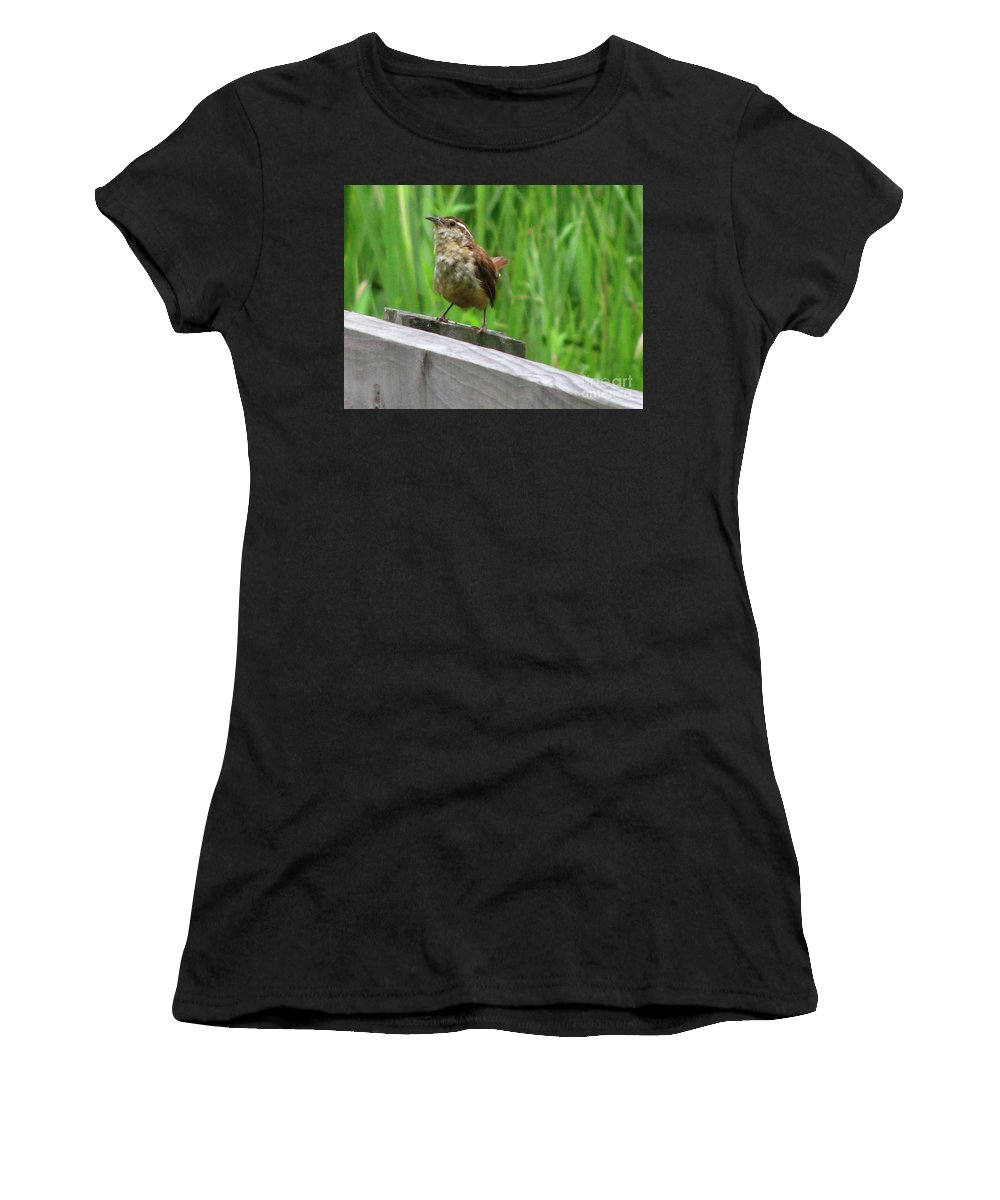 Bird Women's T-Shirt (Athletic Fit) featuring the photograph Baby House Wren by Donna Brown