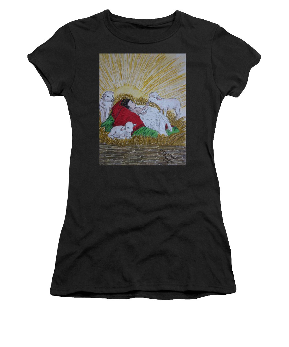 Saviour Women's T-Shirt (Athletic Fit) featuring the painting Baby Jesus At Birth by Kathy Marrs Chandler