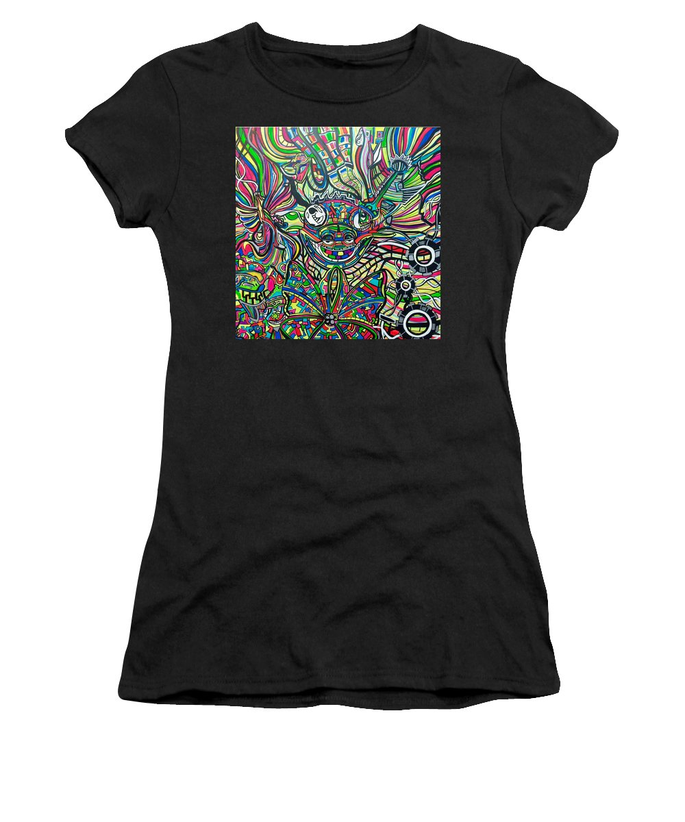 Abstract Women's T-Shirt featuring the painting Back To Cali by Russell Cottengain