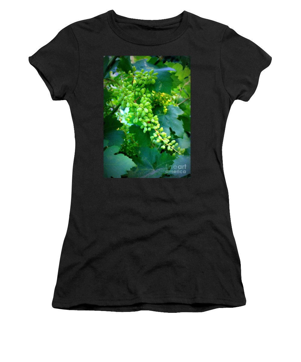 Grapes Women's T-Shirt (Athletic Fit) featuring the photograph Backyard Garden Series - Young Grapes by Carol Groenen