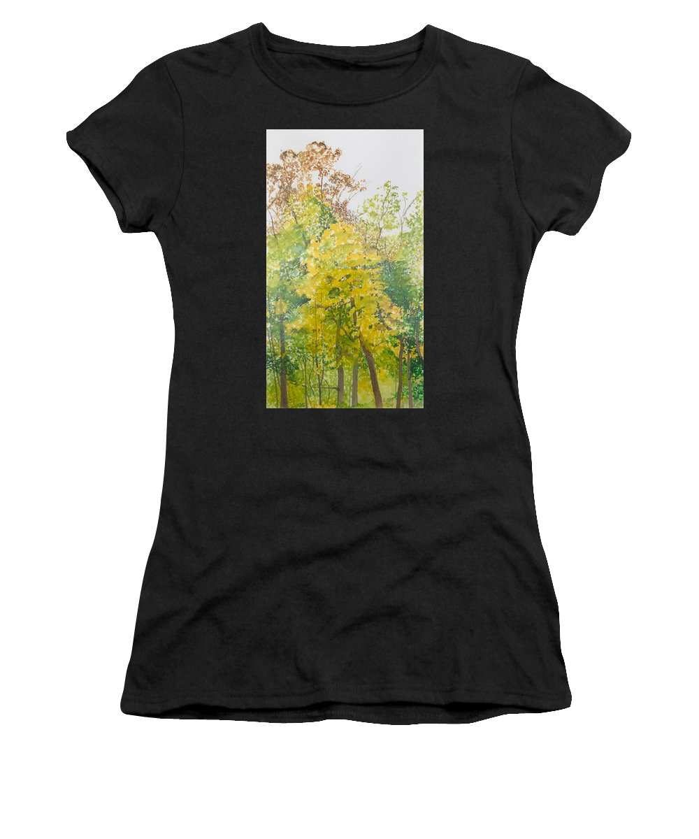 Autumn Women's T-Shirt featuring the painting Backyard by Leah Tomaino