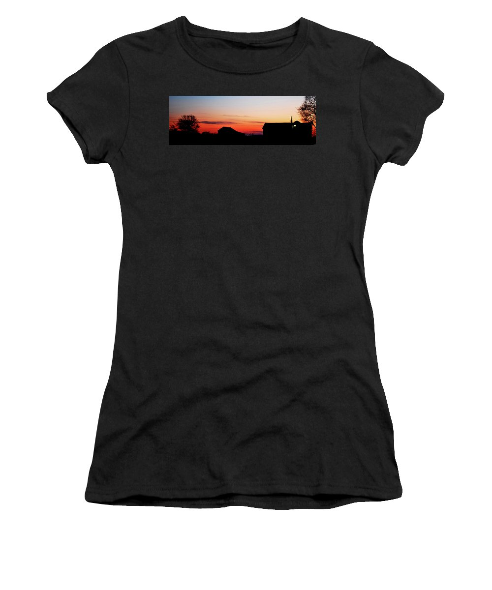 Sunset Women's T-Shirt (Athletic Fit) featuring the photograph Backyard Sunset by Lori Tambakis