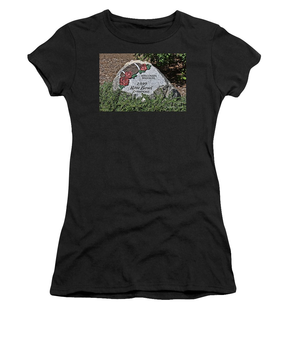 Camp Randall Women's T-Shirt (Athletic Fit) featuring the photograph Badger Rose Bowl Win 1999 by Tommy Anderson