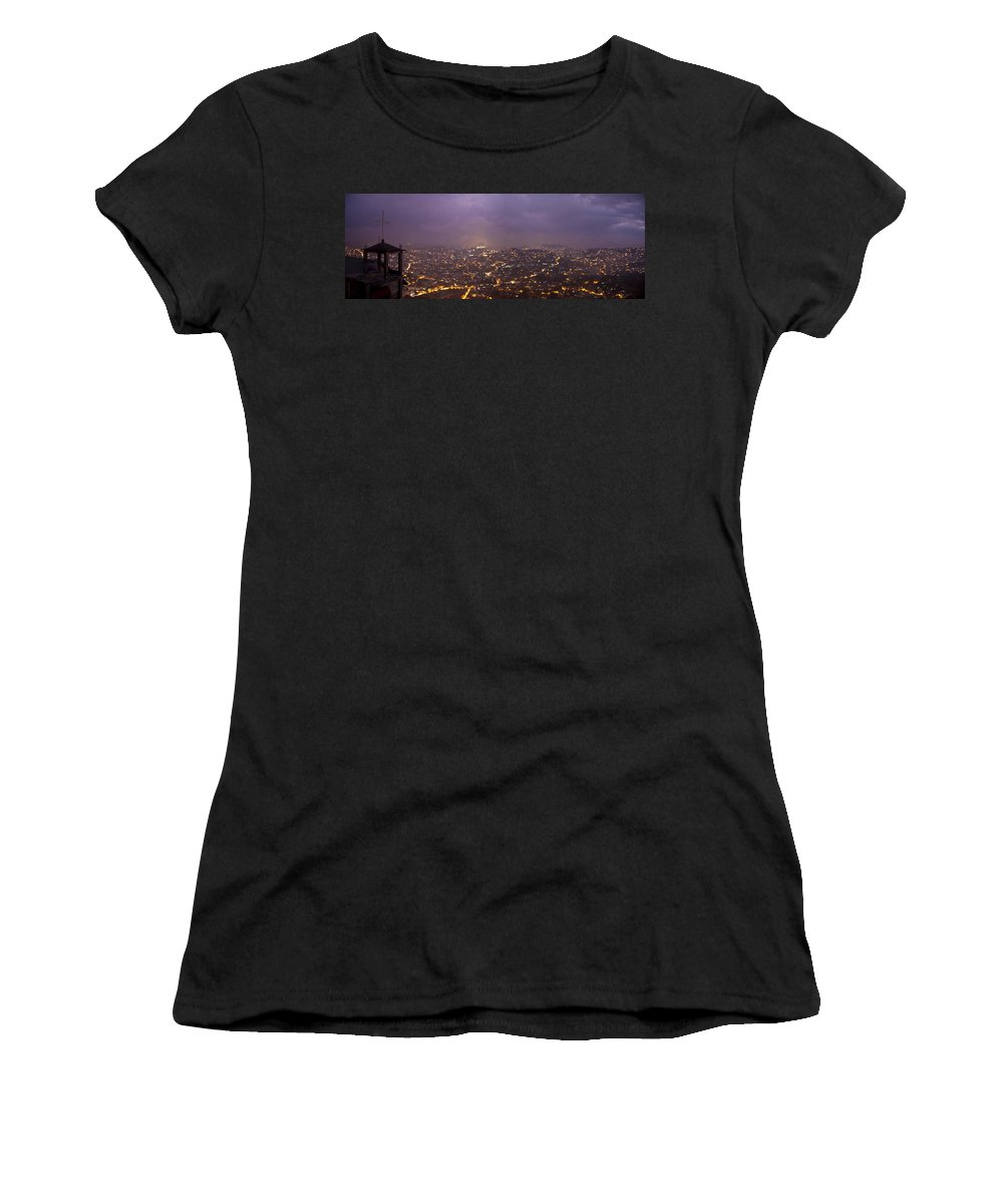Panoramic Women's T-Shirt (Athletic Fit) featuring the photograph Baguio At Night by George Cabig