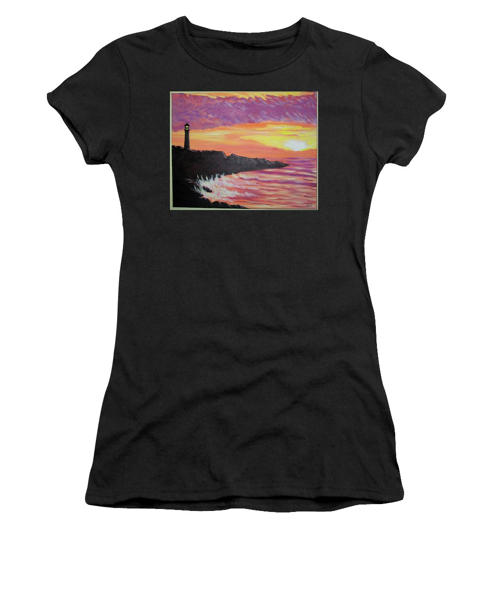 Seascape Women's T-Shirt (Athletic Fit) featuring the painting Bahia At Sunset by Marco Morales