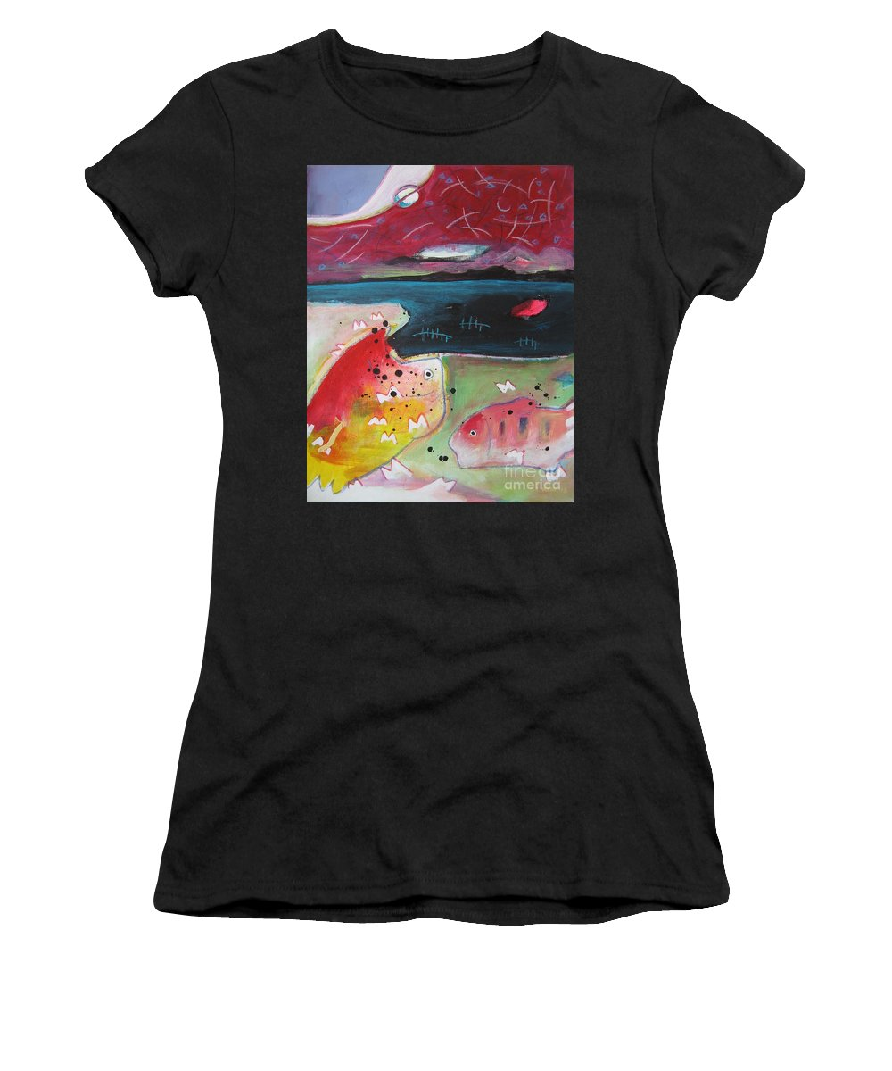 Acrylic Paintings Women's T-Shirt (Athletic Fit) featuring the painting Baieverte by Seon-Jeong Kim