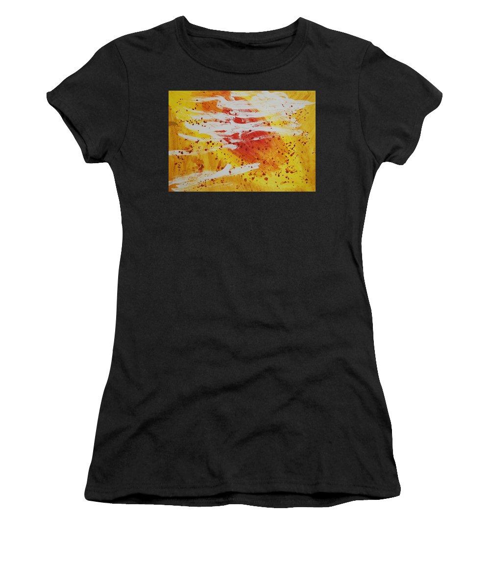 Abstract Women's T-Shirt (Athletic Fit) featuring the painting Bailando En El Sol by Lauren Luna