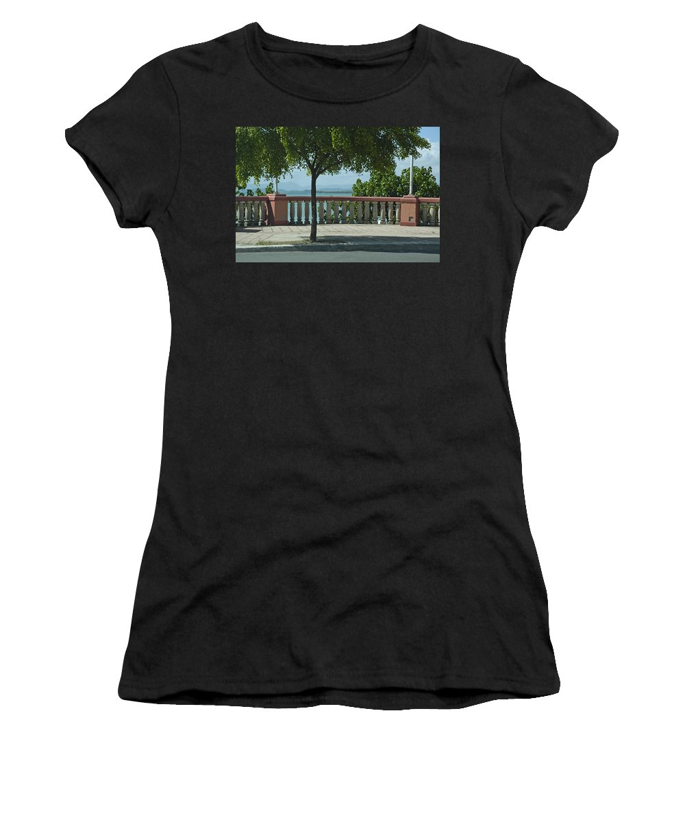 Landscape Women's T-Shirt (Athletic Fit) featuring the photograph Balcony On The Beach In Naguabo Puerto Rico by Tito Santiago