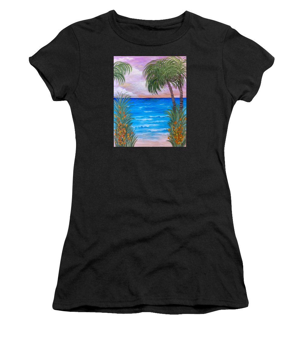 Landscape Women's T-Shirt (Athletic Fit) featuring the painting Bali Hai by Linda Pack