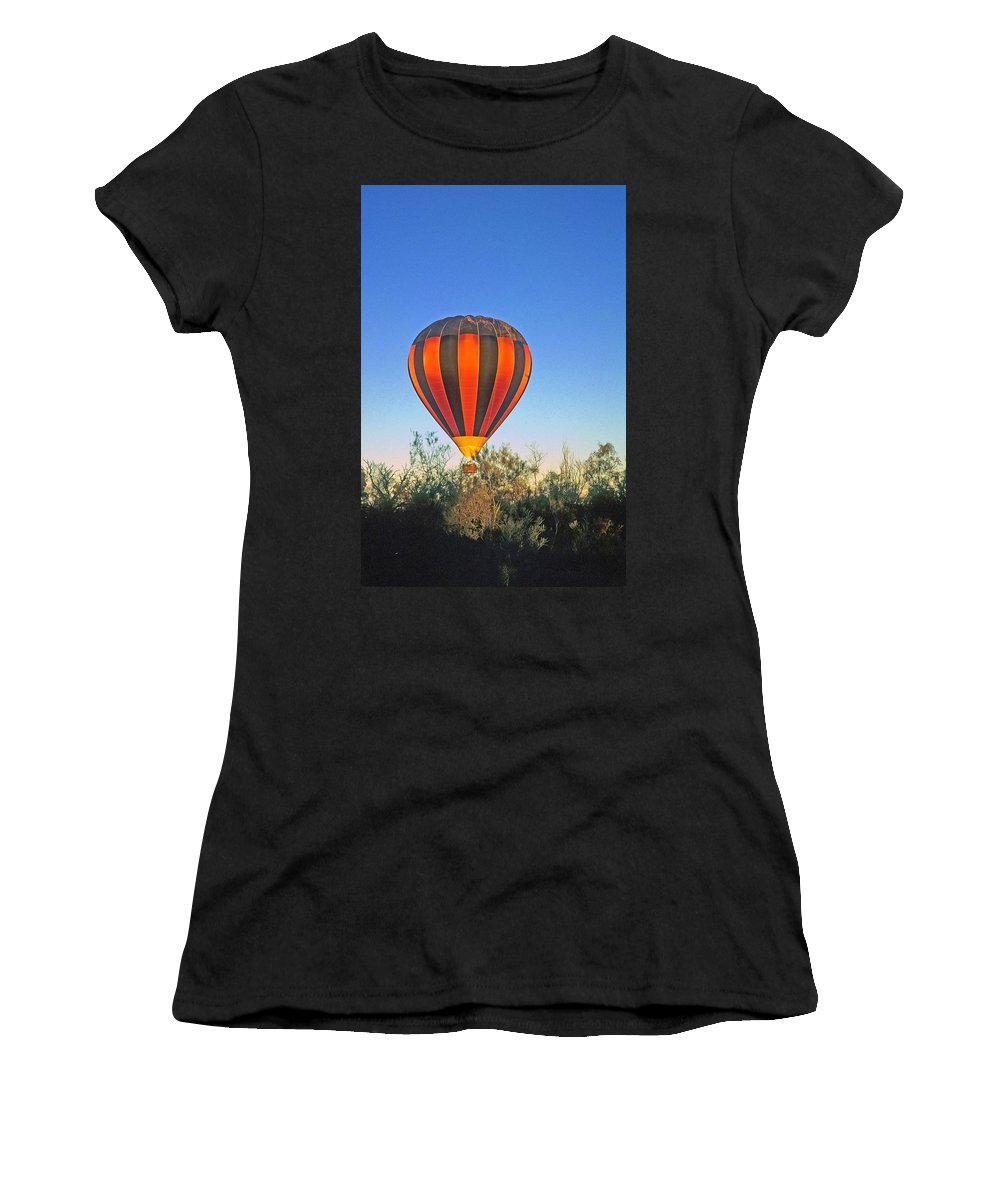 Hot Air Balloon Women's T-Shirt (Athletic Fit) featuring the photograph Balloon Launch by Gary Wonning