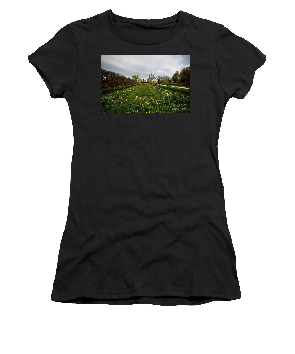 Colonial Williamsburg Women's T-Shirt featuring the photograph Ballroom Spring Garden In April by Rachel Morrison
