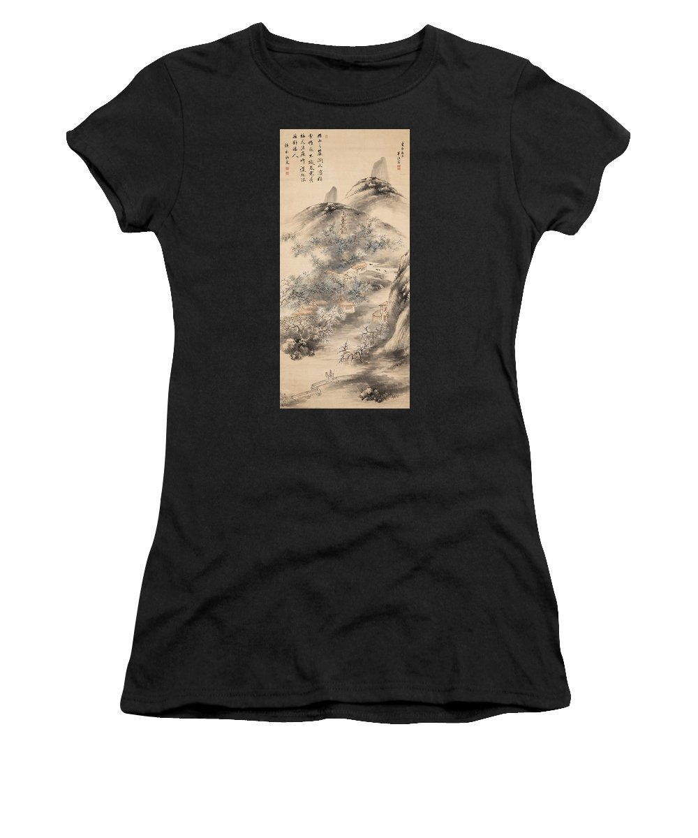 Okada Hanko Women's T-Shirt (Athletic Fit) featuring the drawing Bamboo And Plum In Early Spring by Okada Hanko