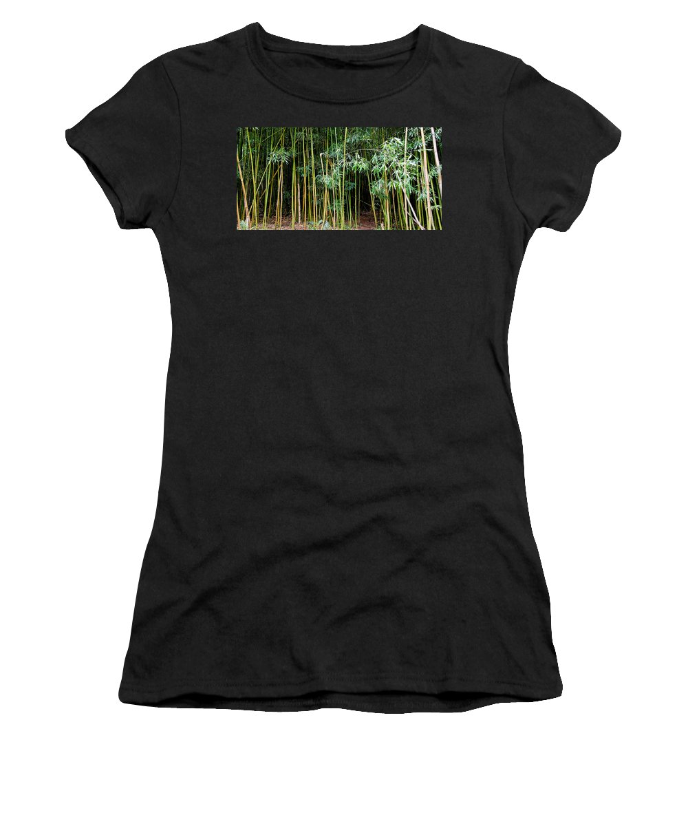 Bamboo Wind Chimes Women's T-Shirt (Athletic Fit) featuring the photograph Bamboo Wind Chimes Waimoku Falls Trail Hana Maui Hawaii by Michael Bessler