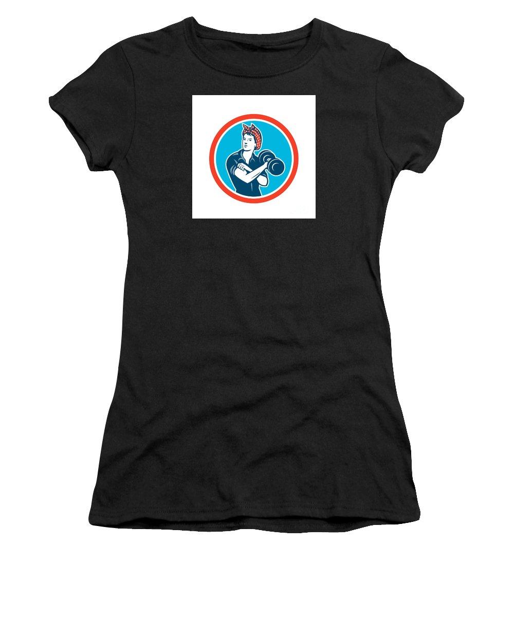 Trainer Women's T-Shirt (Athletic Fit) featuring the digital art Bandana Woman Lifting Dumbbell Circle Retro by Aloysius Patrimonio