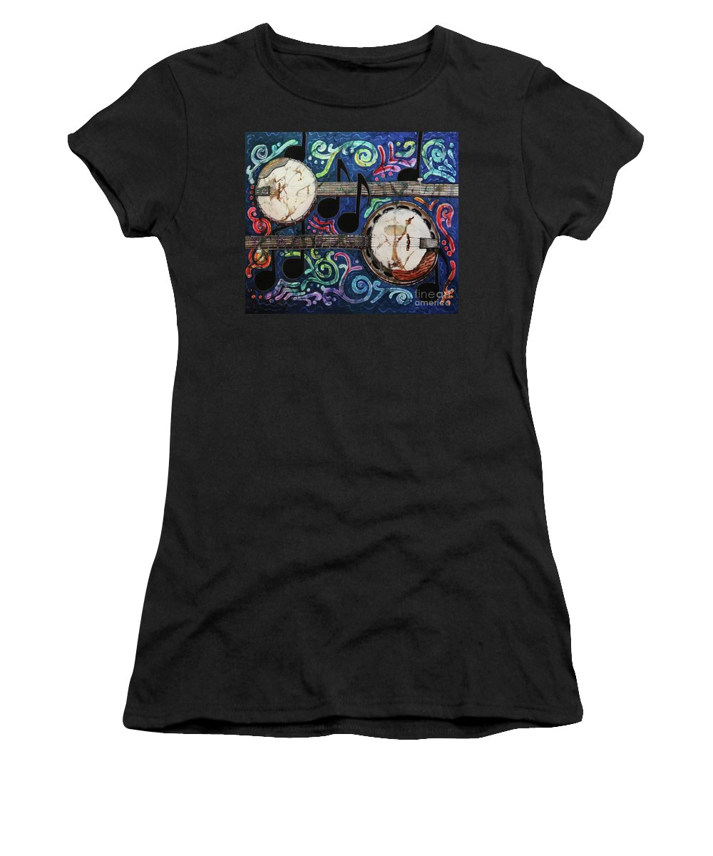 Banjos Women's T-Shirt (Athletic Fit) featuring the painting Banjos by Sue Duda