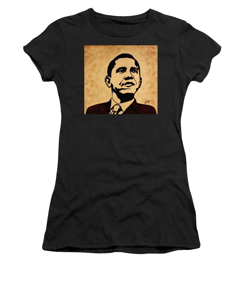 Barack Obama Coffee Painting Pop Art Women's T-Shirt featuring the painting Barack Obama Original Coffee Painting by Georgeta Blanaru