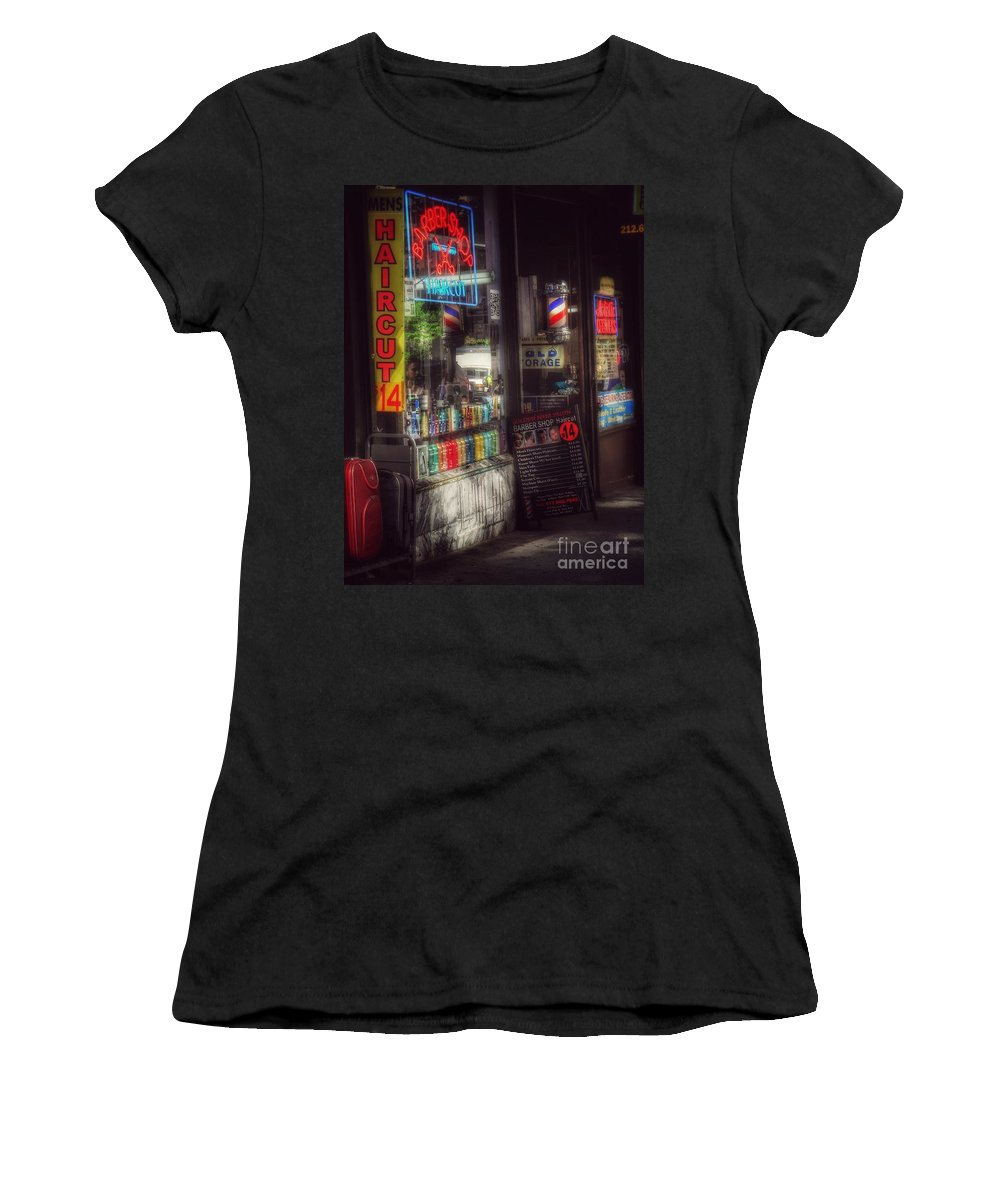 Barber Shop Women's T-Shirt (Athletic Fit) featuring the photograph Barber Shop - Haircut 14 Dollars by Miriam Danar