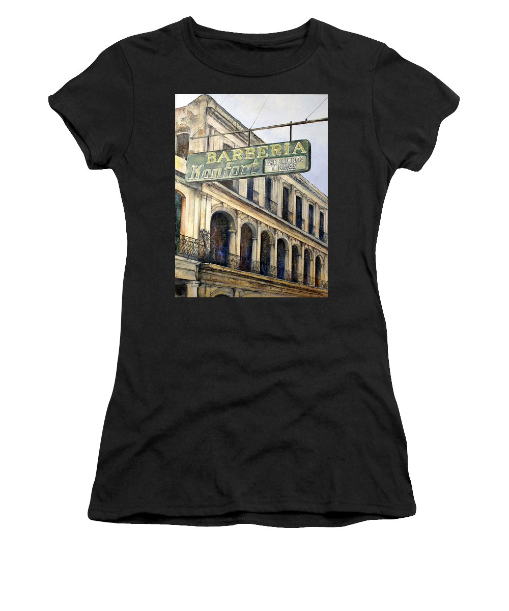 Konfort Barberia Old Havana Cuba Oil Painting Art Urban Cityscape Women's T-Shirt (Athletic Fit) featuring the painting Barberia Konfort by Tomas Castano