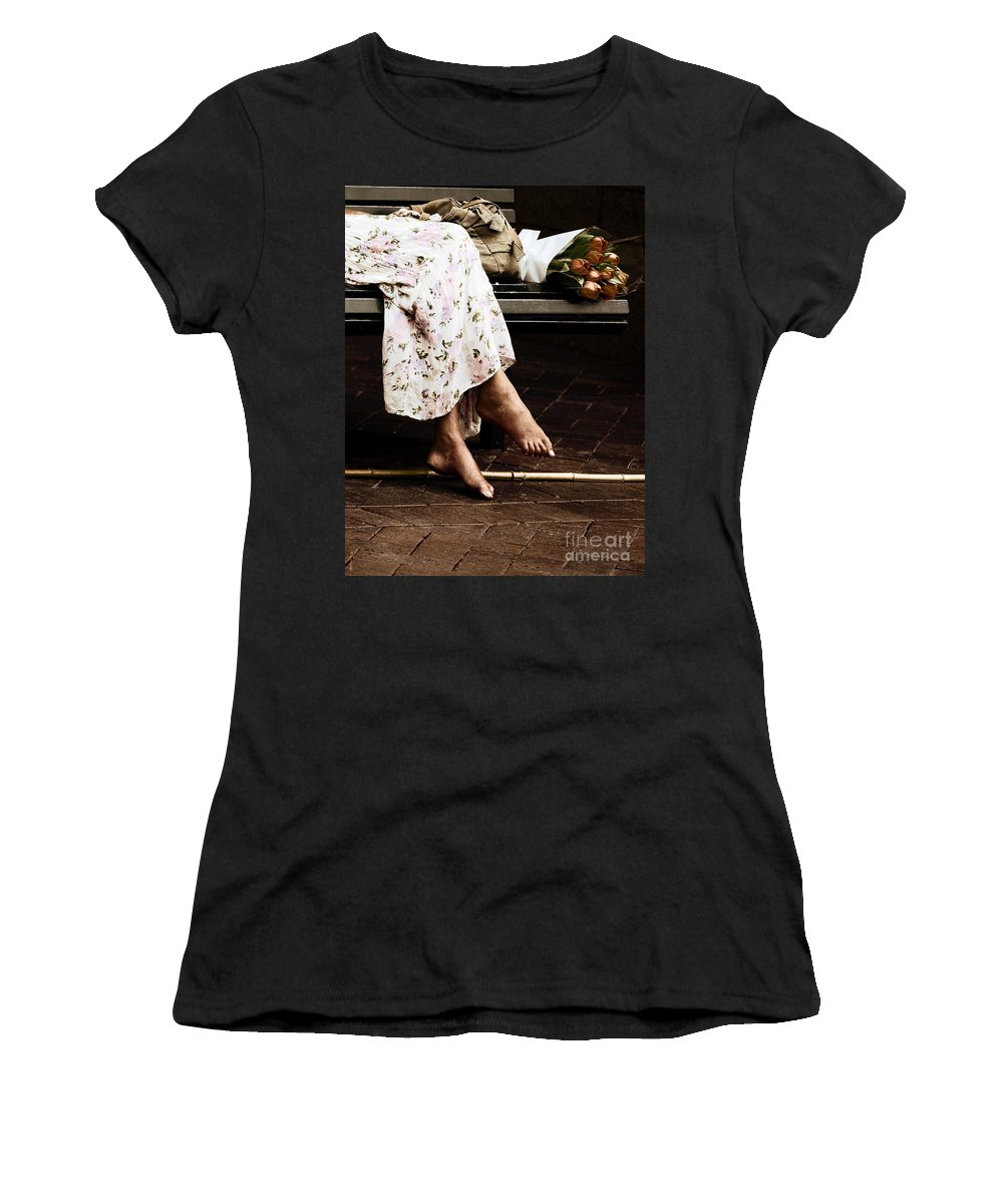 Barefeet Feet Barefoot Tulips Women's T-Shirt (Athletic Fit) featuring the photograph Barefoot And Tulips by Sheila Smart Fine Art Photography