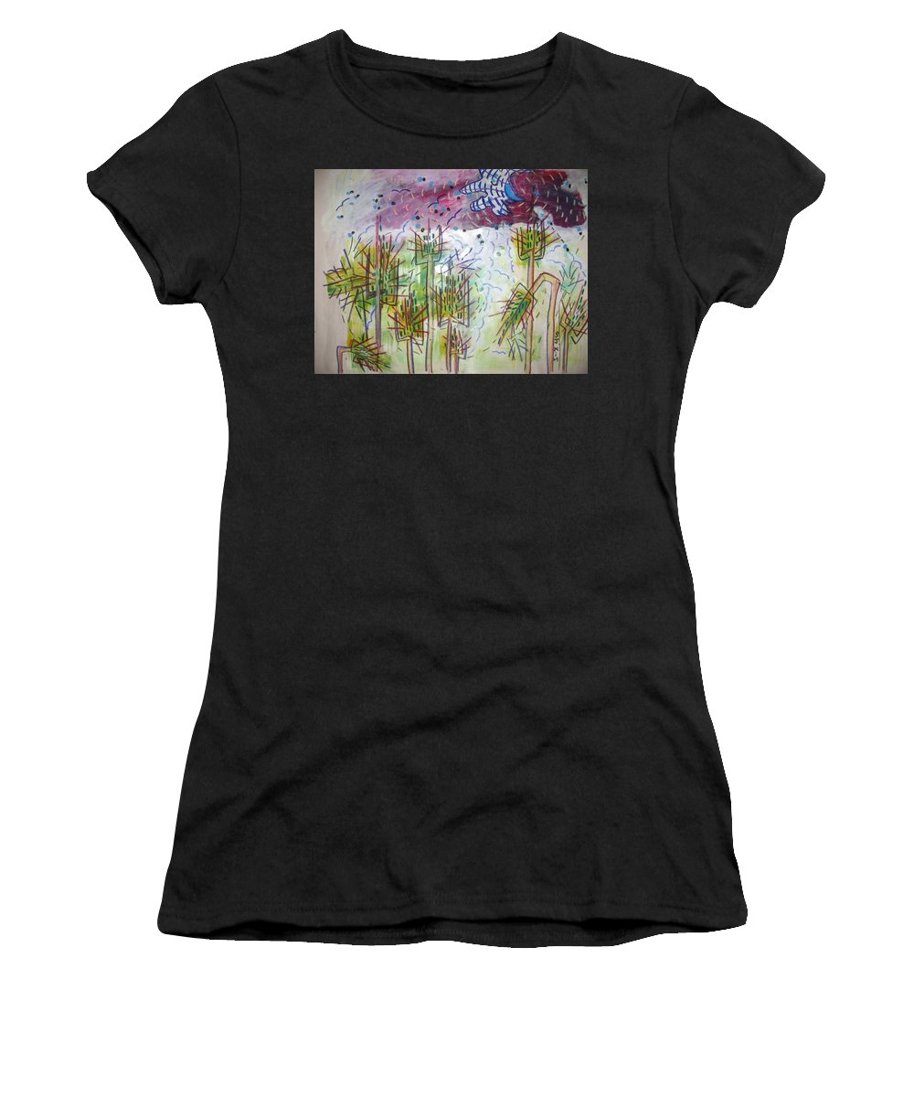 Barly Paintings Women's T-Shirt (Athletic Fit) featuring the painting Barly And The Blue Moon by Seon-Jeong Kim
