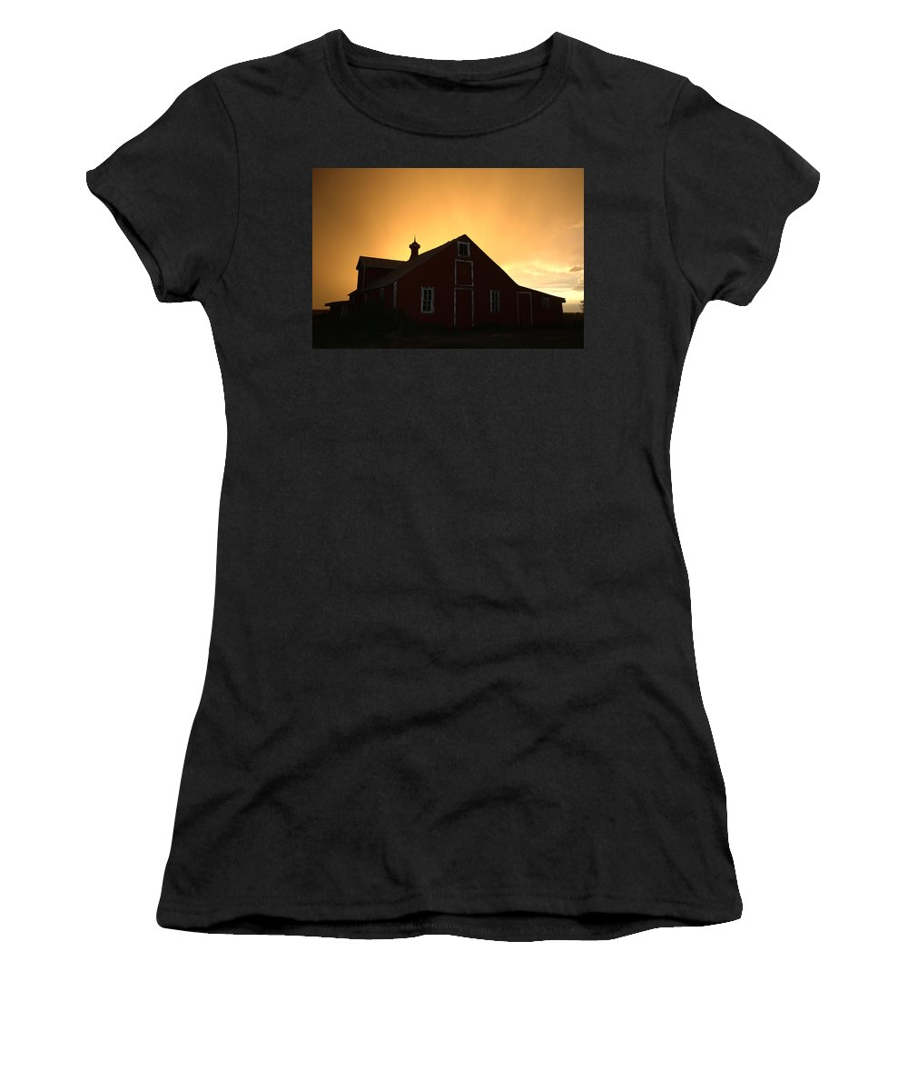 Barn Women's T-Shirt featuring the photograph Barn At Sunset by Jerry McElroy