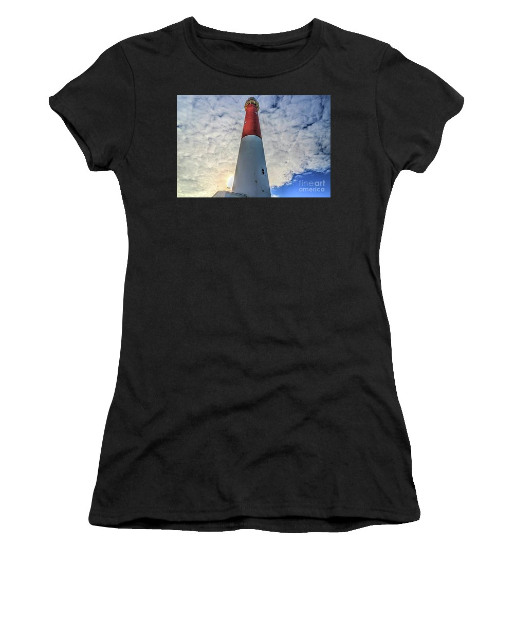 Lighthouses Women's T-Shirt featuring the photograph Barnegat Lighthouse In The Clouds by Frank Nicolato