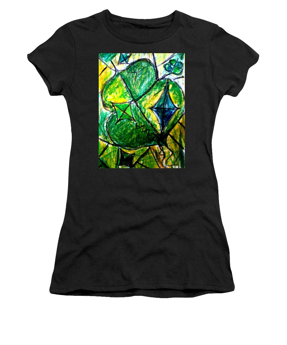 Painting Women's T-Shirt (Athletic Fit) featuring the painting Basant by Fareeha Khawaja