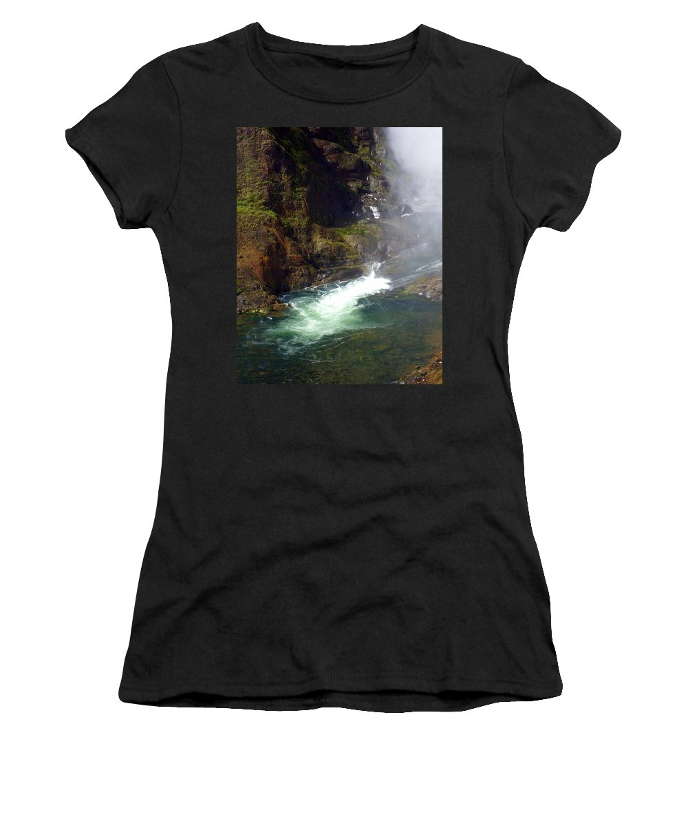 Yellowstone National Park Women's T-Shirt (Athletic Fit) featuring the photograph Base Of The Falls 1 by Marty Koch