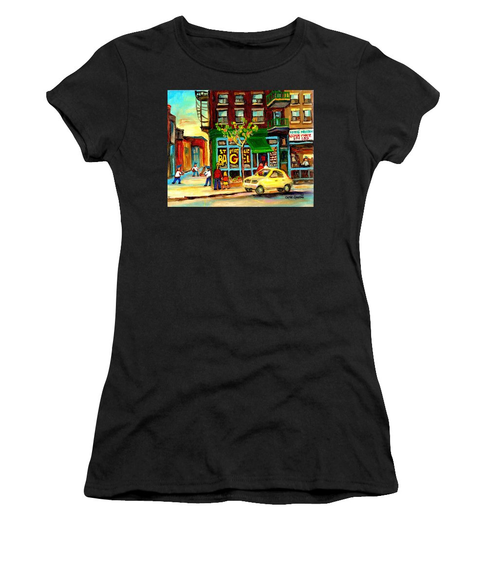 St Women's T-Shirt (Athletic Fit) featuring the painting Baseball And A Bagel by Carole Spandau
