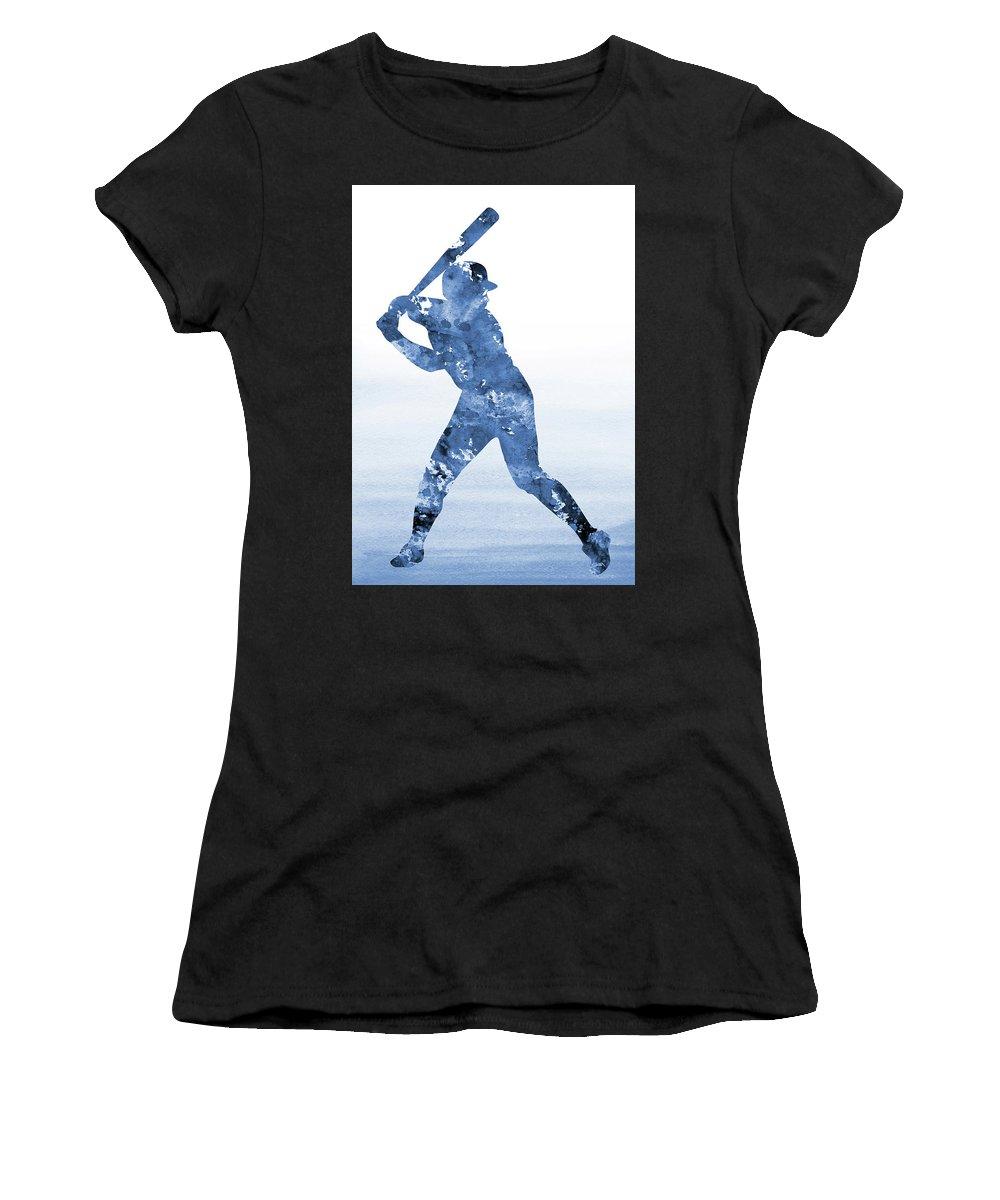 Baseball Player Women's T-Shirt (Athletic Fit) featuring the digital art Baseball Player-blue by Erzebet S