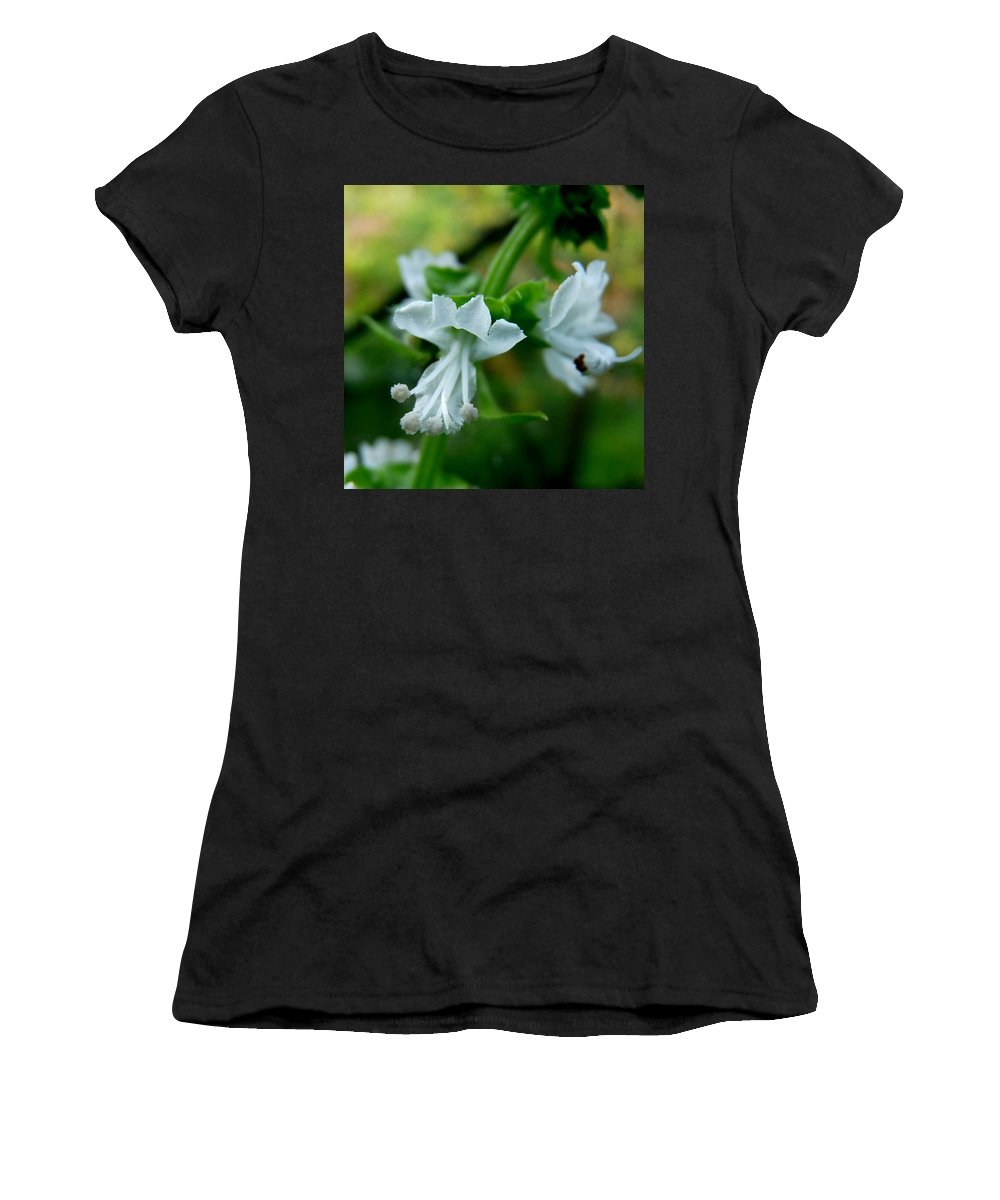 Basil Women's T-Shirt featuring the photograph Basil Bloom by Valerie Ornstein