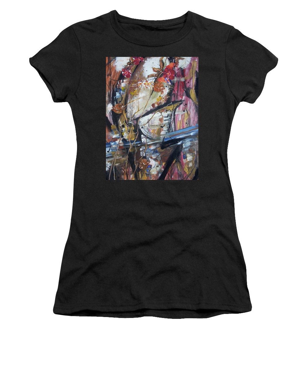 Basketball Women's T-Shirt (Athletic Fit) featuring the painting Basket-boll Dreams by Hasaan Kirkland