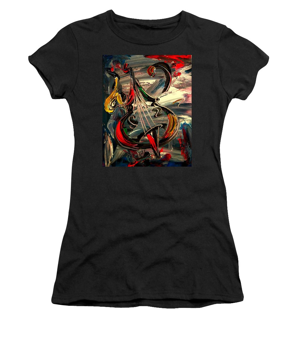 Newyork Women's T-Shirt (Athletic Fit) featuring the painting Bass Jazz by Mark Kazav