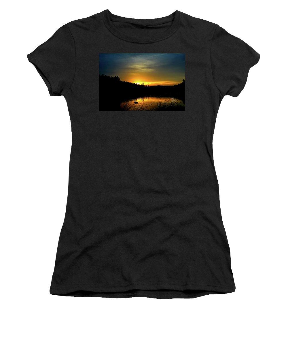 Bass Lake Women's T-Shirt (Athletic Fit) featuring the photograph Bass Lake Sunrise Duck by Meta Gatschenberger
