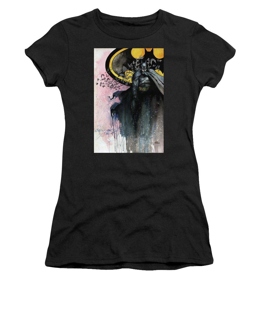 Batman Women's T-Shirt (Athletic Fit) featuring the painting Batman by Marc Brawner
