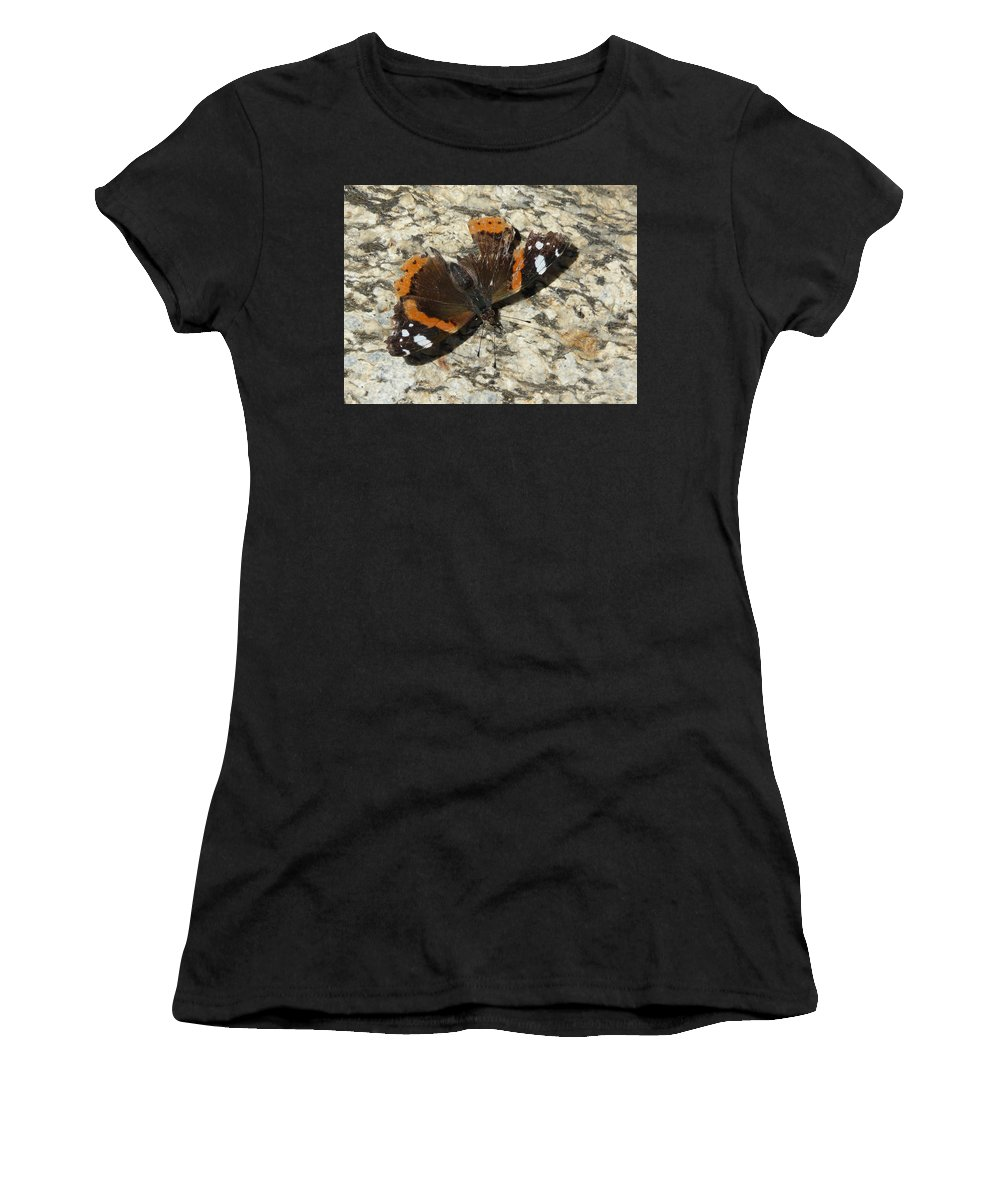 Butterfly Women's T-Shirt (Athletic Fit) featuring the photograph Battered Butterfly by Valerie Ornstein