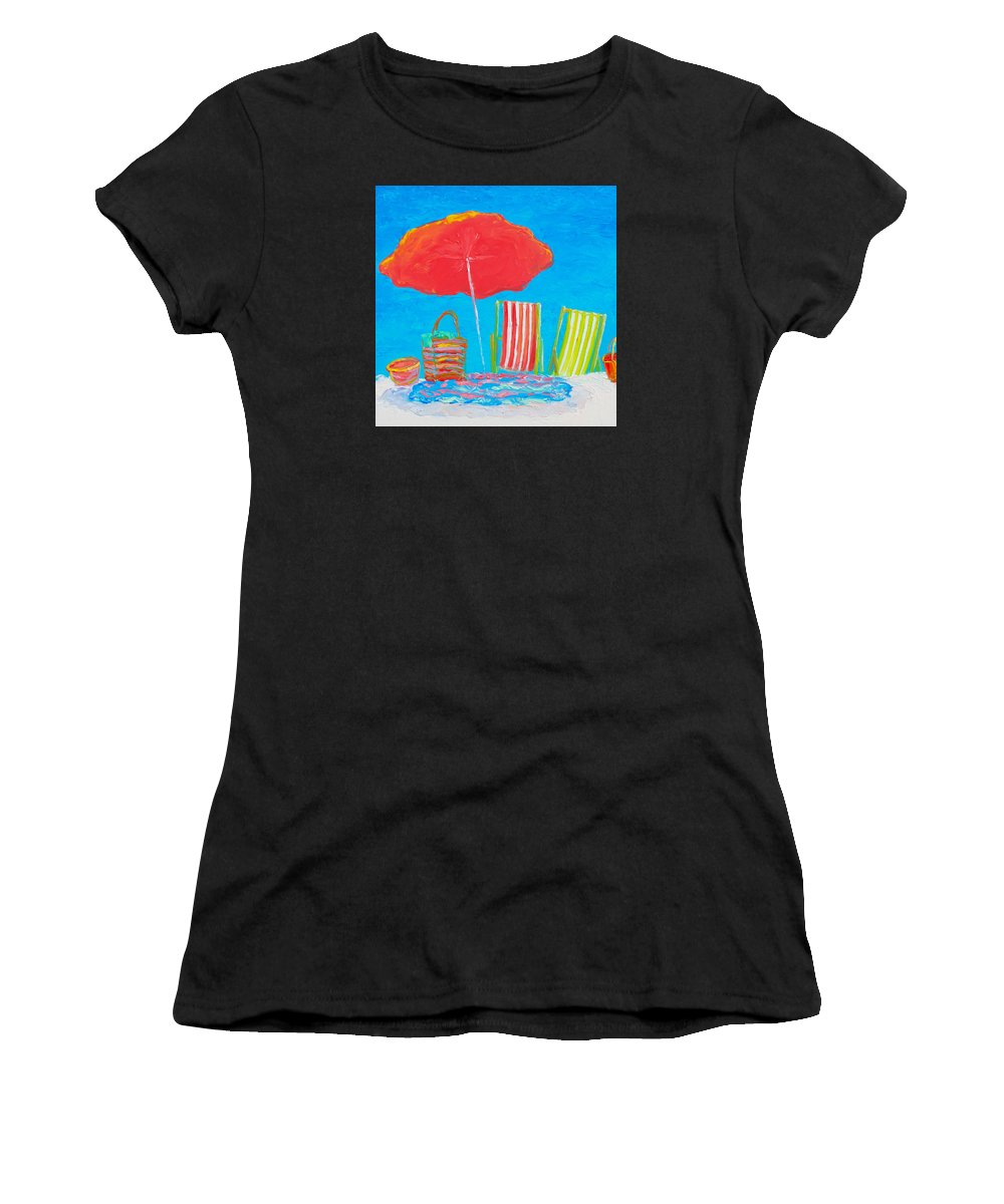 Beach Women's T-Shirt featuring the painting Beach Art - The Red Umbrella by Jan Matson