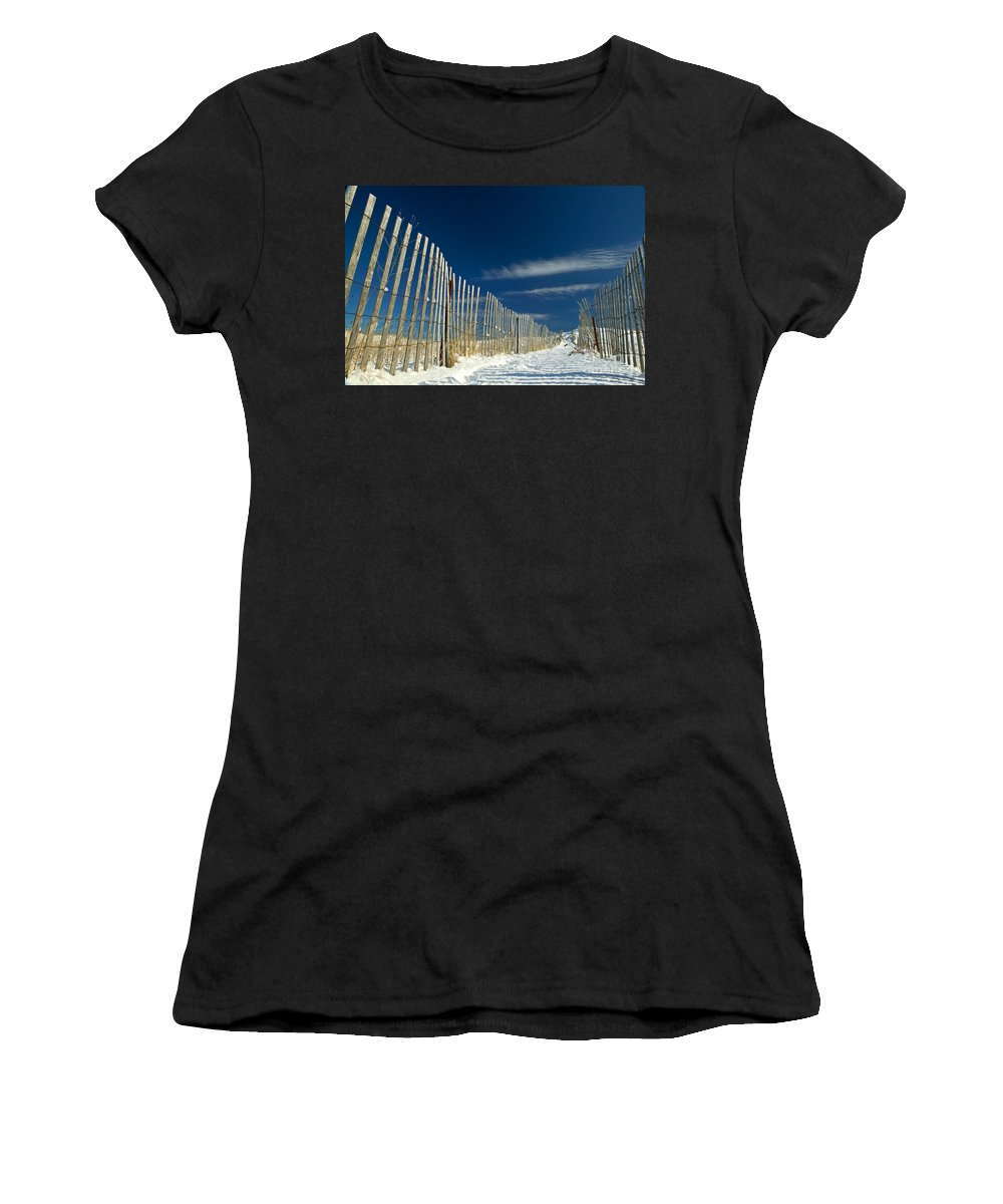 Beach Fence Women's T-Shirt (Athletic Fit) featuring the photograph Beach Fence And Snow by Matt Suess