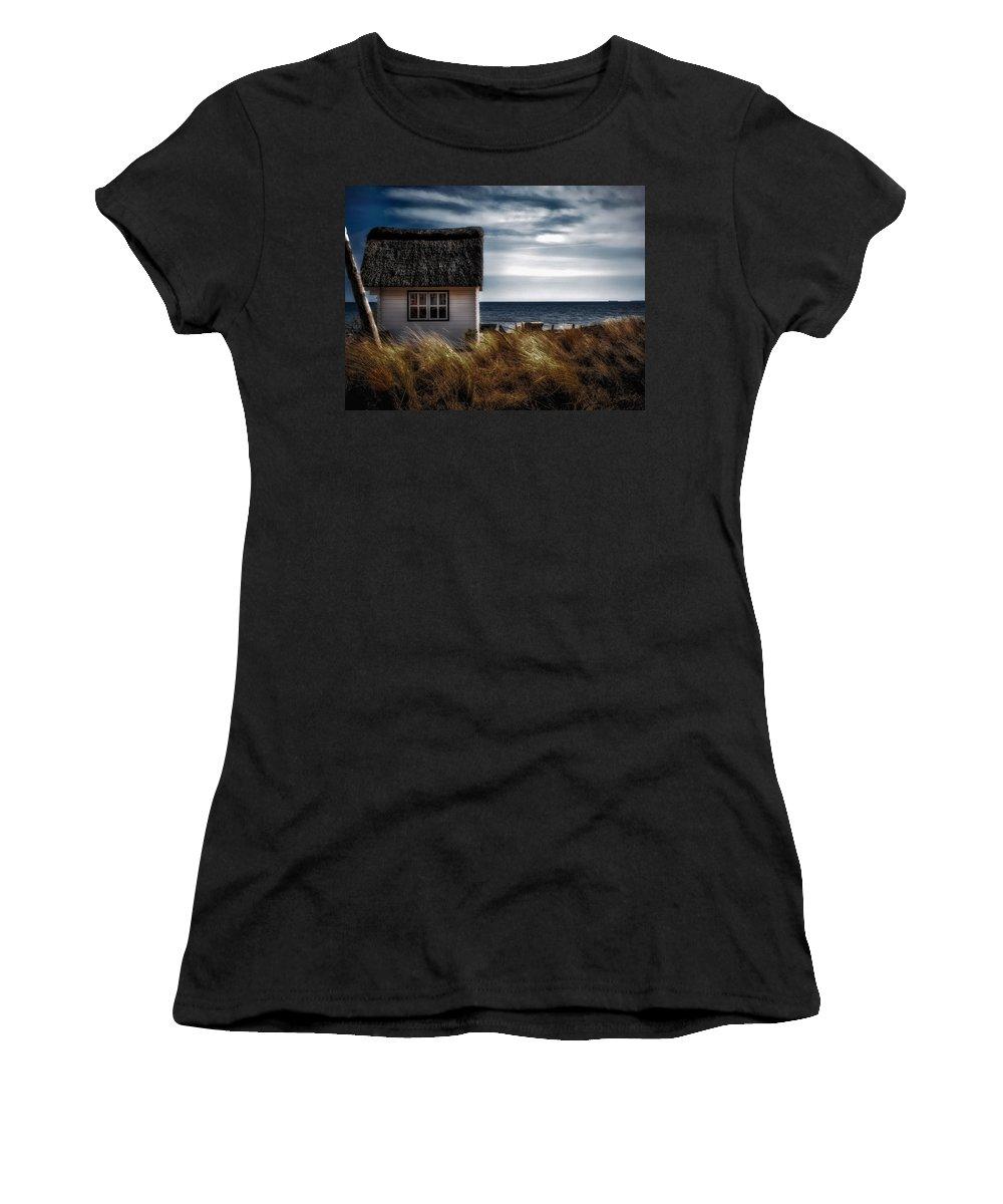 Beach Women's T-Shirt (Athletic Fit) featuring the photograph Beach Hut by Dawn Van Doorn